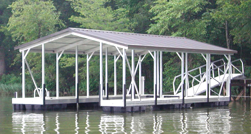 flotation systems gable roof covered boat dock small 5