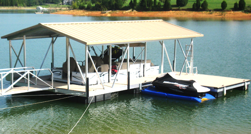flotation systems gable roof covered boat dock small 6