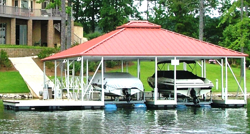 flotation systems hip roof covered boat dock small 5