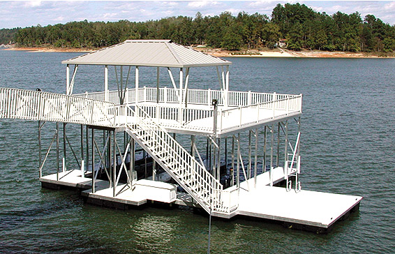 A complete Flotation Systems aluminum boat dock
