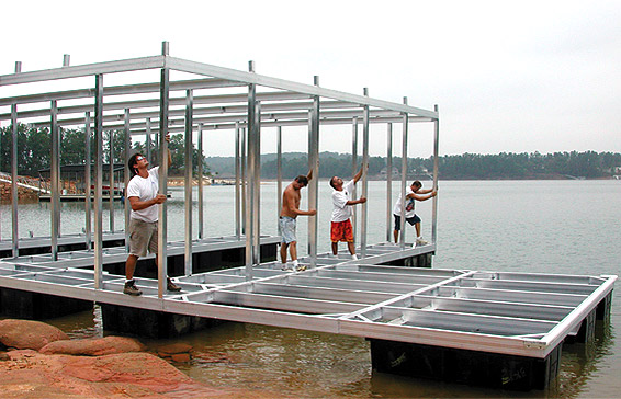 A dedicated crew assembles the boat dock