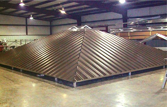 Hip roof construction underway