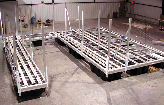 The start of a great aluminum boat dock