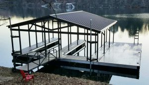 Flotation Systems - Gable Roof Boat Dock - Lodge Package