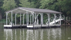 Flotation Systems gable roof boat dock G12