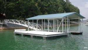 Flotation Systems gable roof boat dock G13
