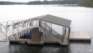 Flotation Systems gable roof boat dock G15