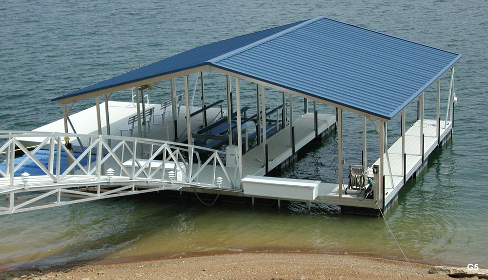 Flotation Systems Gable Roof Boat Dock G5 Flotation