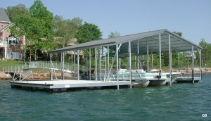 Flotation Systems gable roof boat dock G9