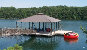 Flotation Systems hip roof boat dock H1