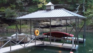 Flotation Systems hip roof boat dock H18