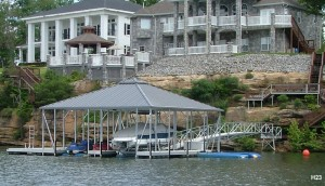 Flotation Systems hip roof boat dock H23