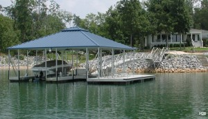 Flotation Systems hip roof boat dock H25