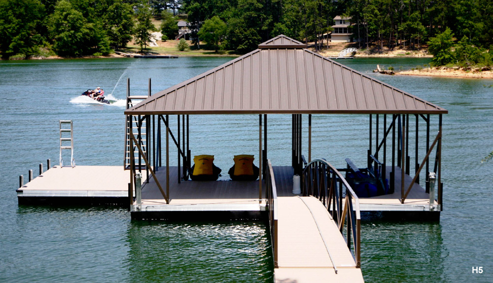 Flotation Systems Hip Roof Boat Dock Gallery | Flotation Systems Aluminum Boat Docks