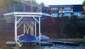 Flotation Systems, Inc. - Floating Stationary Hybrid Aluminum Boat Dock - Judd Rice