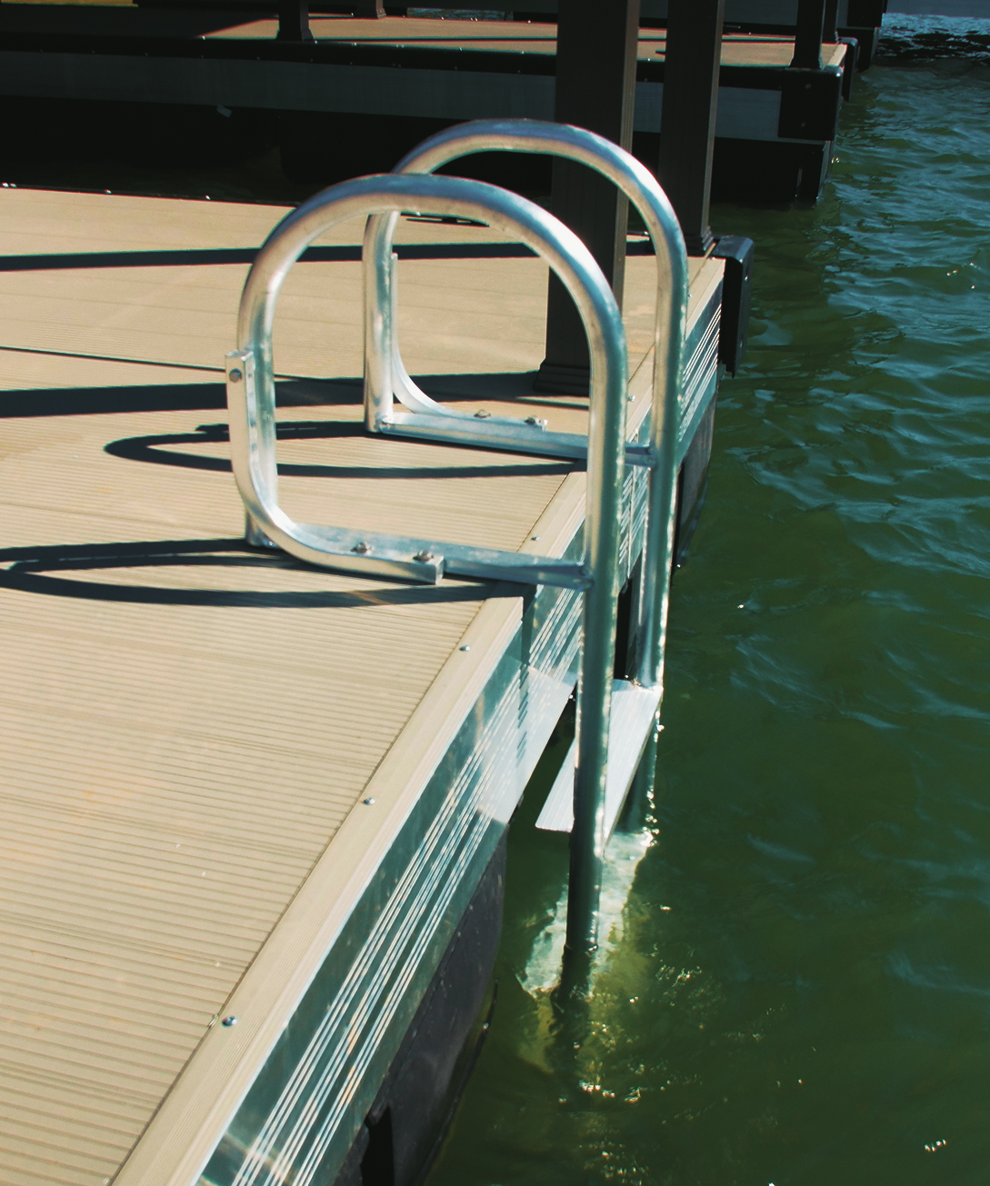 Flotation Systems, Inc. swim ladder in the water