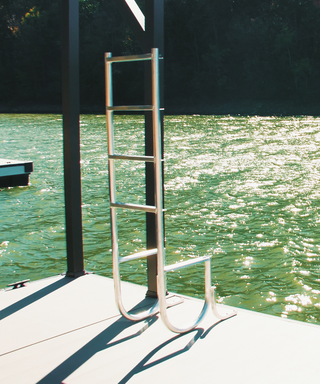 Flotation Systems, Inc. swim ladder out of the water