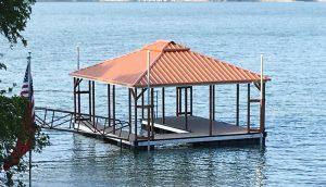 Flotation Systems, Inc. - Aluminum Boat Docks - Hip Roof - Shannon Burnett, Waterfront Solutions, LLC.