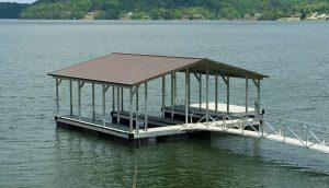 Flotation Systems, Inc. Aluminum Boat Docks - Double Slip Gable Roof Boat Dock