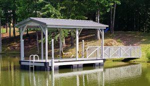 Flotation Systems, Inc. Aluminum Boat Docks - Gable Covered Swim Platform