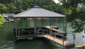 Flotation Systems, Inc. Aluminum Boat Docks - Double Slip Hip Roof