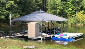 Flotation Systems Aluminum Boat Docks - Hip Roof Boat Dock - 1000 Acre Lake
